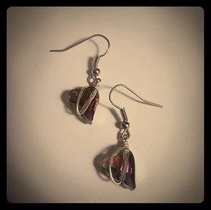 Small Crystal Heart Earrings
